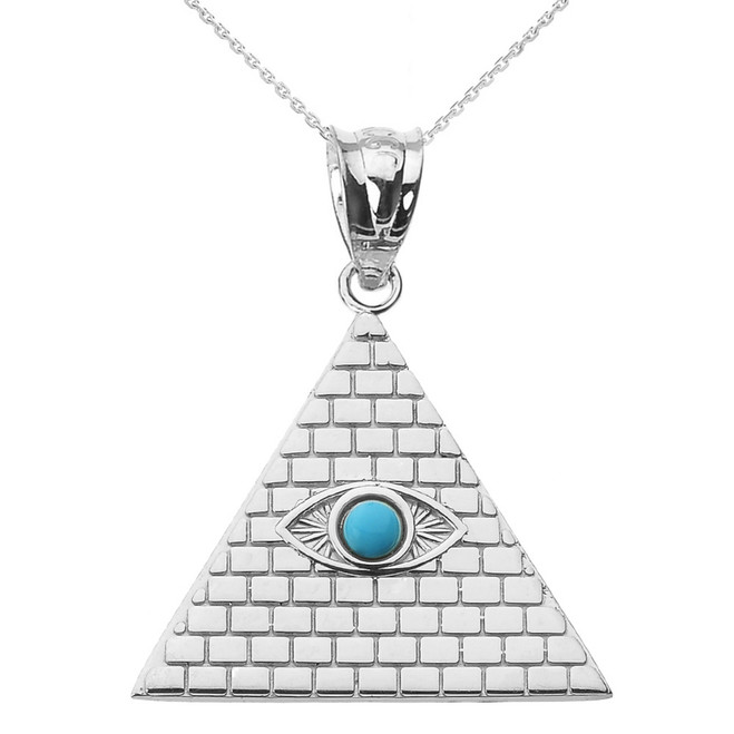 Sterling Silver Egyptian Pyramid with Turquoise Evil Eye Pendant