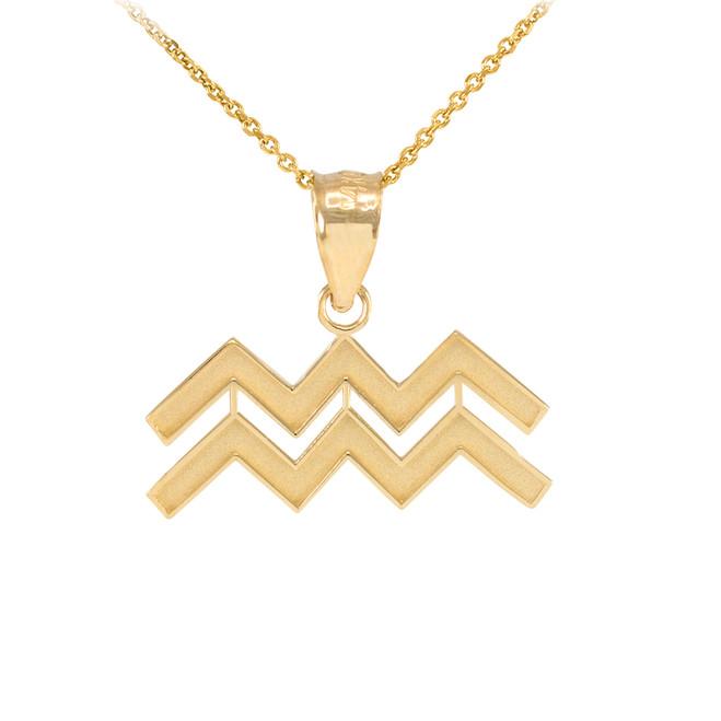 Gold Aquarius Zodiac Sign Pendant Necklace