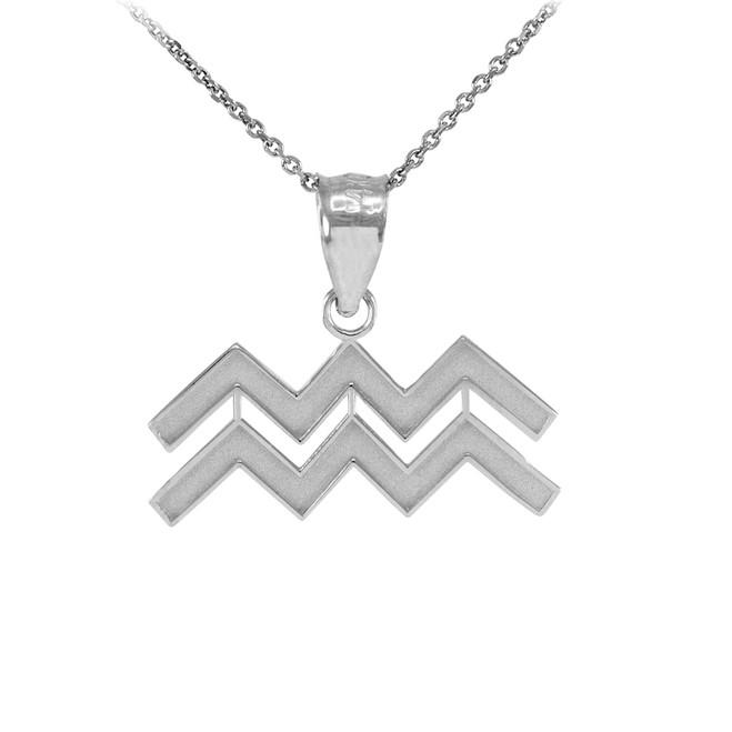 White Gold Aquarius Zodiac Sign Pendant Necklace