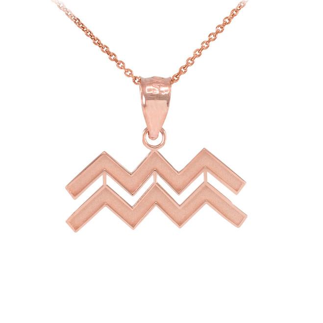 Rose Gold Aquarius Zodiac Sign Pendant Necklace