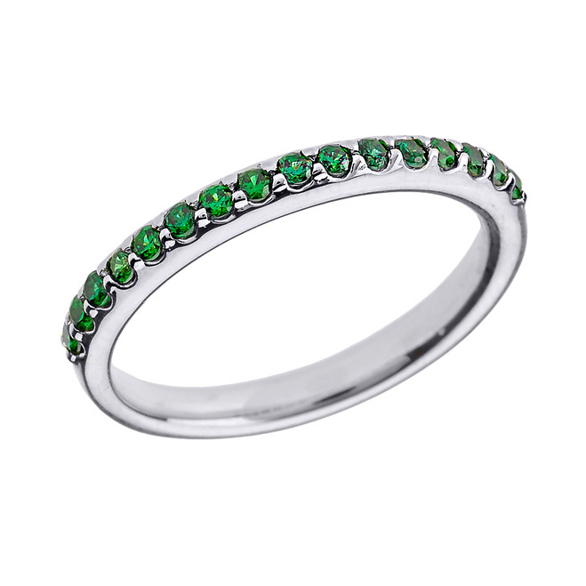 14k White Gold Green CZ Stackable Wedding Band