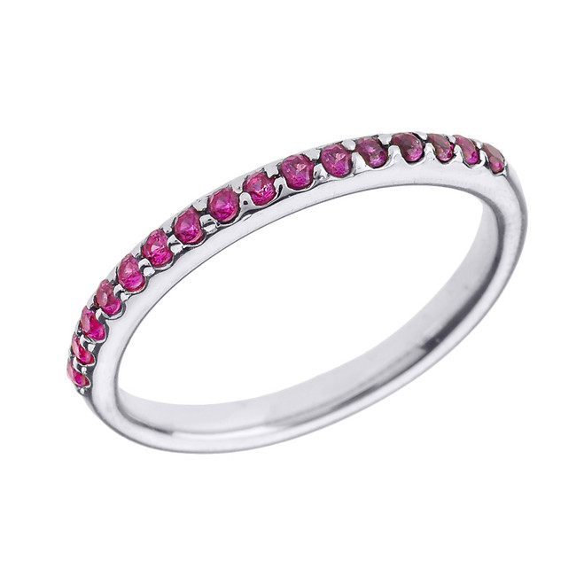14k White Gold Red CZ Stackable Wedding Band