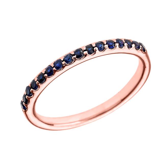 14k Rose Gold Blue CZ Stackable Wedding Band