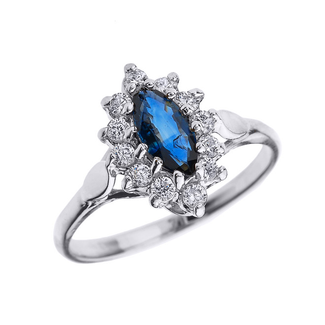 White Gold Diamond and Marquise Sapphire Proposal Engagement Ring