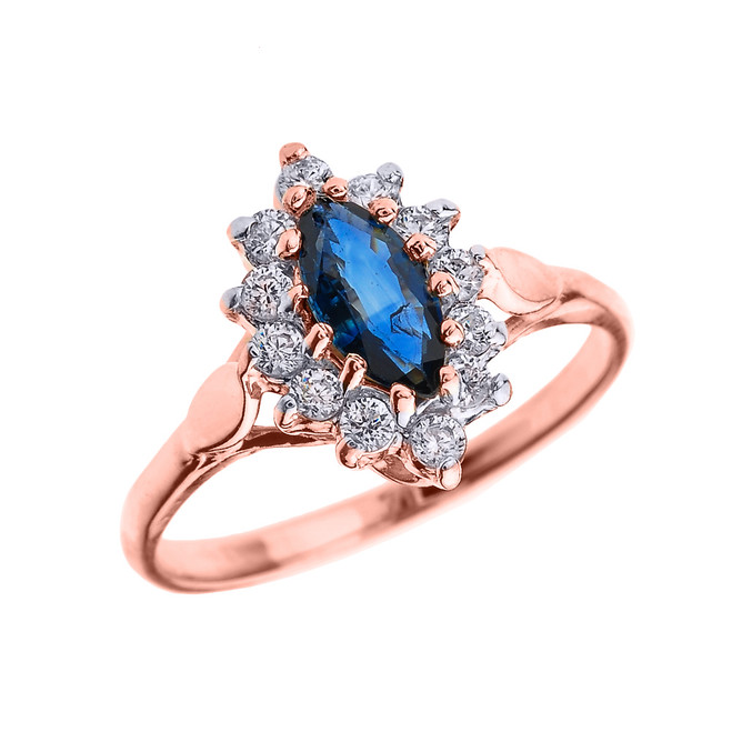 Rose Gold Diamond and Marquise Sapphire Proposal Engagement Ring