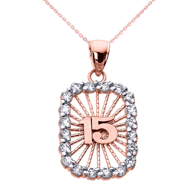 Rose Gold Sweet 15 Años Quinceanera CZ Pendant Necklace