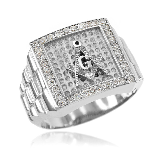 White Gold Watchband Design Men's Masonic CZ Ring