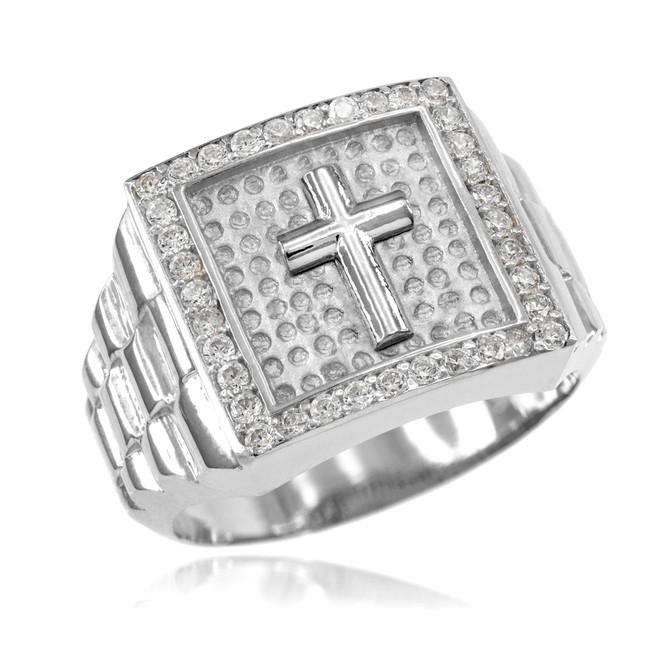 White Gold Watchband Design Men's Cross CZ Ring