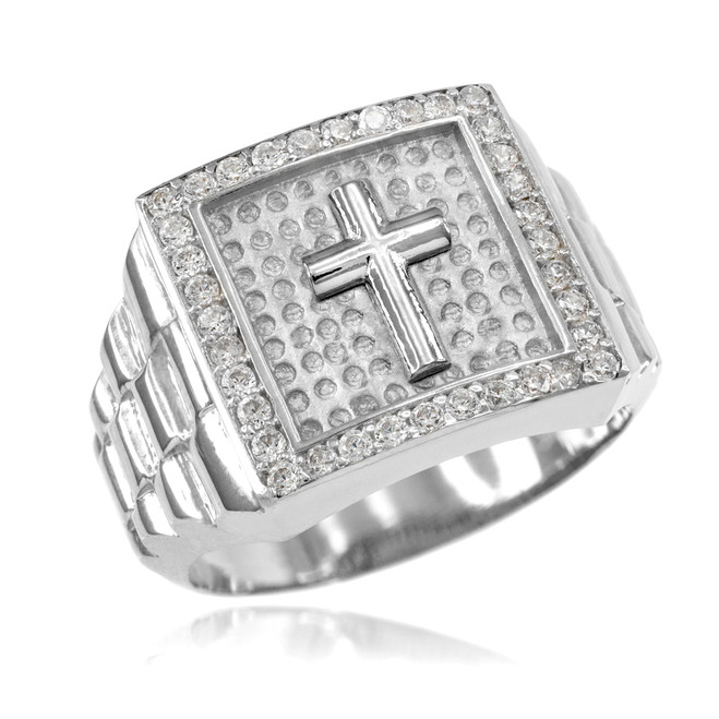 Silver Watchband Design Men's Cross CZ Ring