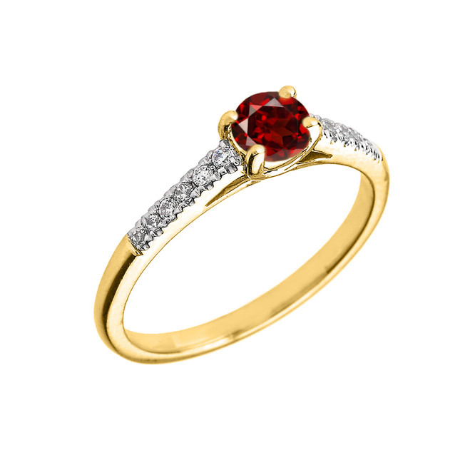 Yellow Gold Diamond and Garnet Engagement Proposal Ring