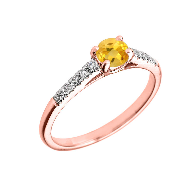 Rose Gold Diamond and Citrine Engagement Proposal Ring