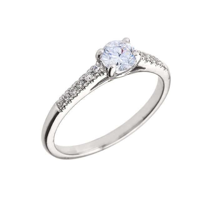 White Gold Diamond and White Topaz Engagement Proposal Ring