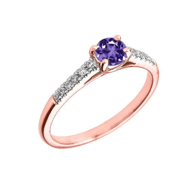 Rose Gold Diamond and Amethyst Engagement Proposal Ring