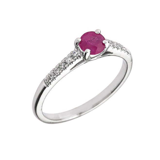 White Gold Diamond and Ruby Engagement Proposal Ring