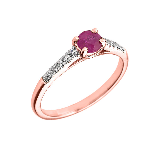 Rose Gold Diamond and Ruby Engagement Proposal Ring