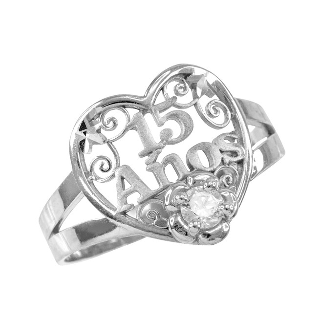 Sterling Silver Quinceanera 15 Anos Heart CZ Ring