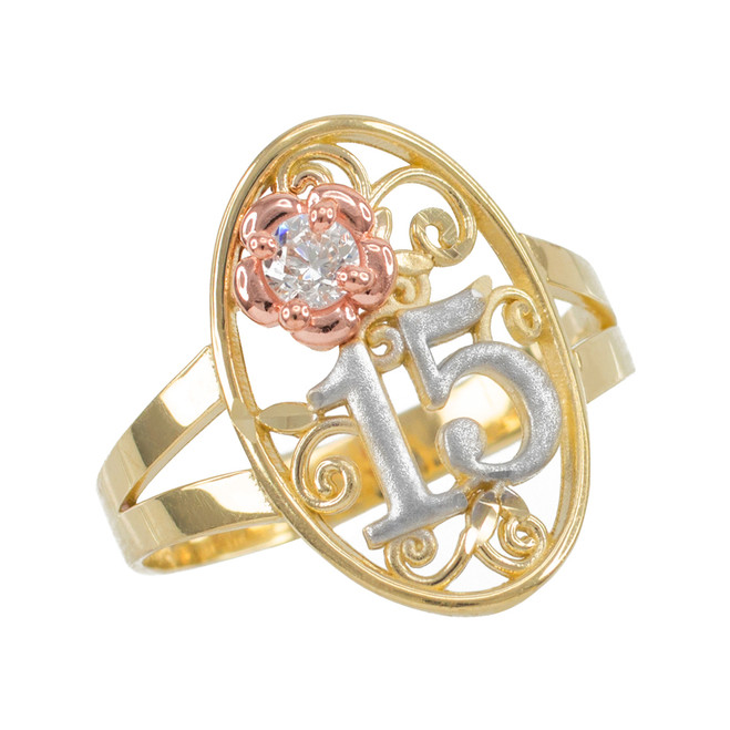 Tri-tone Gold Quinceanera 15 Anos CZ Oval Ring