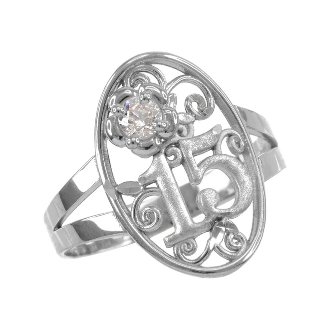 Sterling Silver Quinceanera 15 Anos CZ Oval Ring