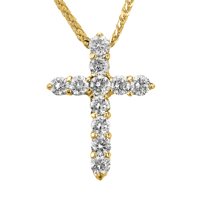 14k Yellow Gold Round Diamond Cross Pendant Necklace