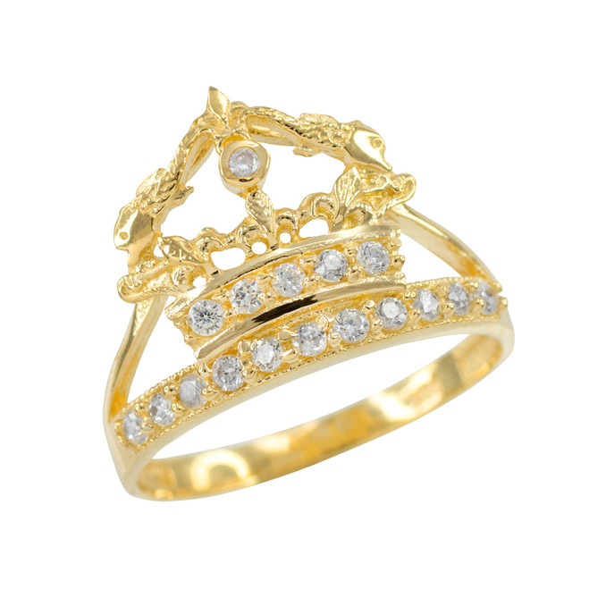 Yellow Gold Queen Crown CZ Ring