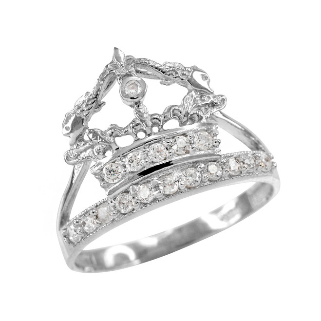 White Gold Queen Crown CZ Ring