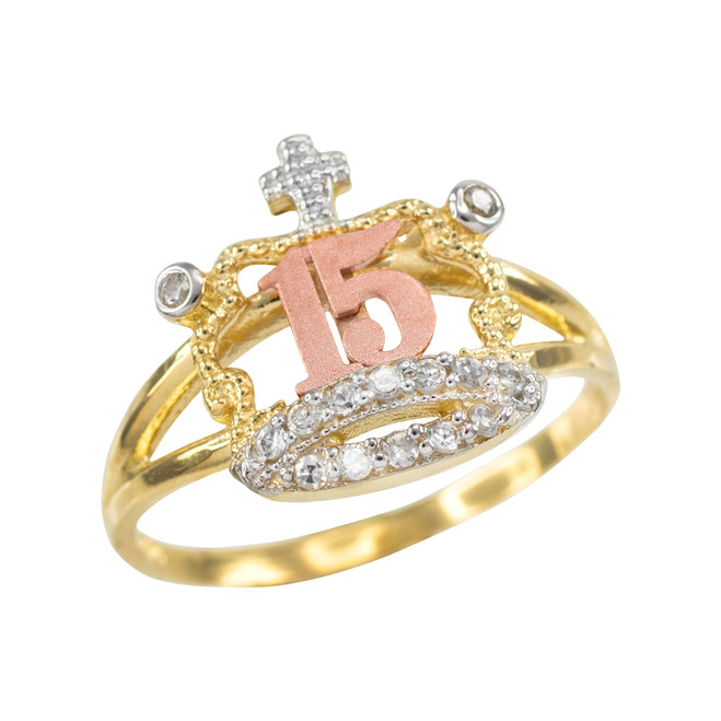 Tri-tone Gold Quinceanera 15 Anos CZ Crown Ring