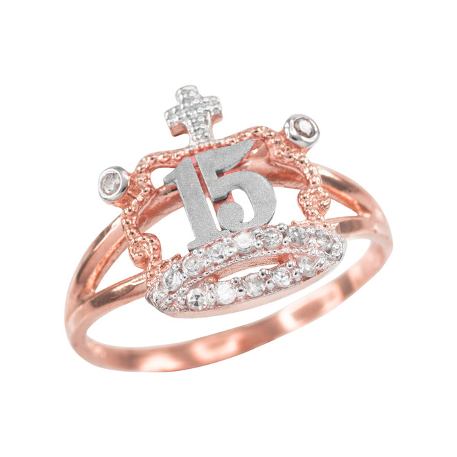 Two-tone Rose Gold Quinceanera 15 Anos CZ Crown Ring