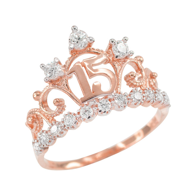Rose Gold Quinceanera 15 Anos Crown CZ Ring