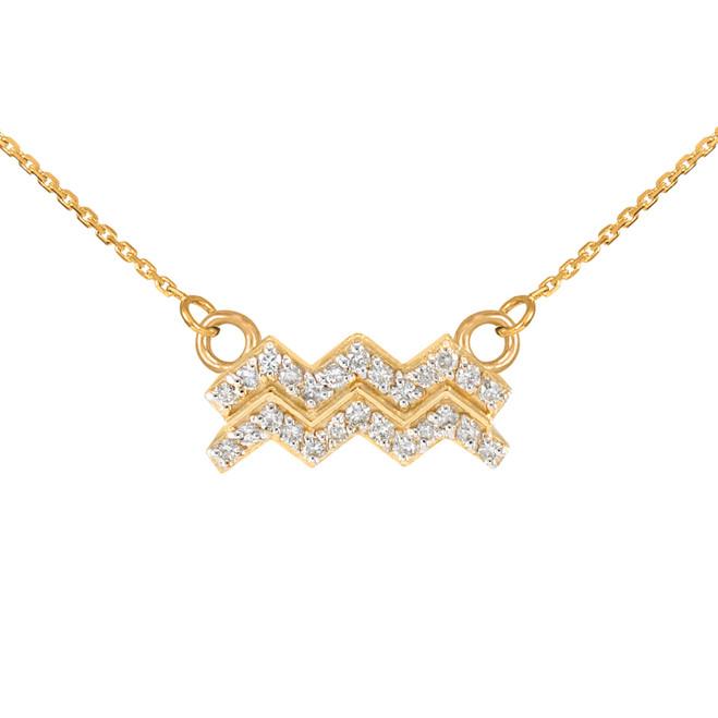 14K Gold Aquarius Zodiac Sign Diamond Necklace