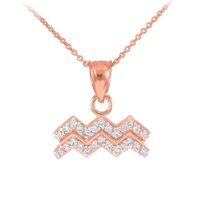 14K Rose Gold Aquarius Zodiac Sign Diamond Pendant Necklace