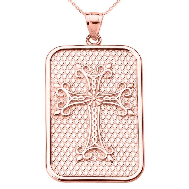 Rose Gold Armenian Apostolic Cross Pendant Necklace