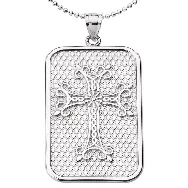 Sterling Silver Armenian Apostolic Cross Pendant Necklace