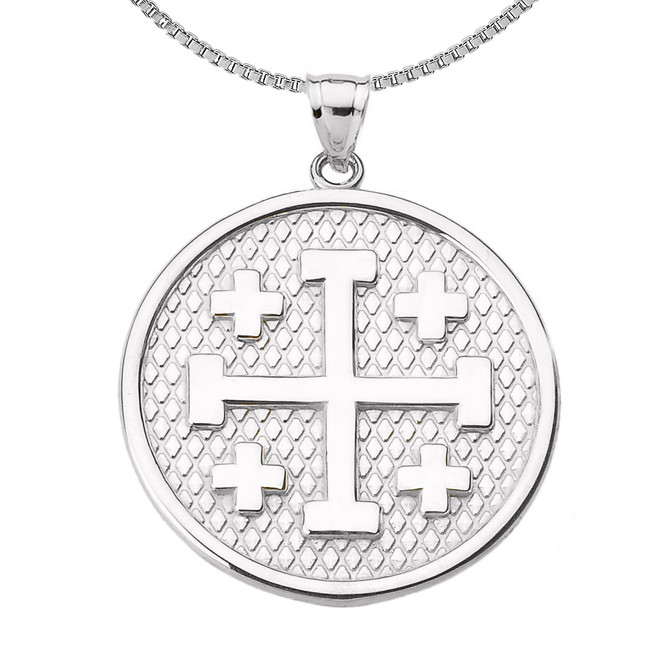 Sterling Silver Jerusalem Cross Round Pendant Necklace