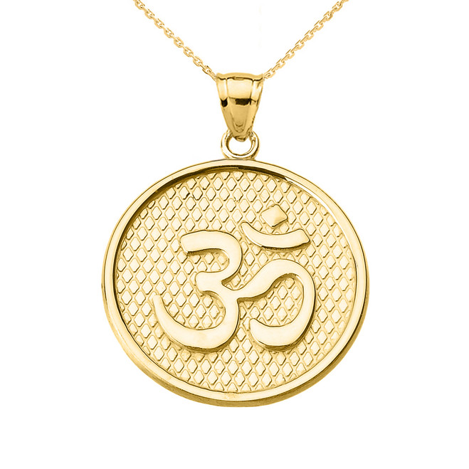 Yellow Gold Om/Ohm Round Pendant Necklace
