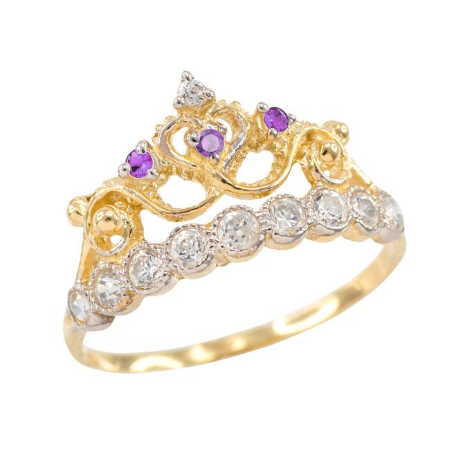 Purple CZ Gold Crown Ring