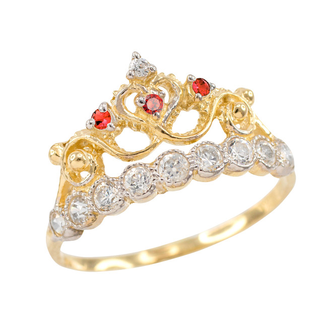 Red CZ Gold Crown Ring