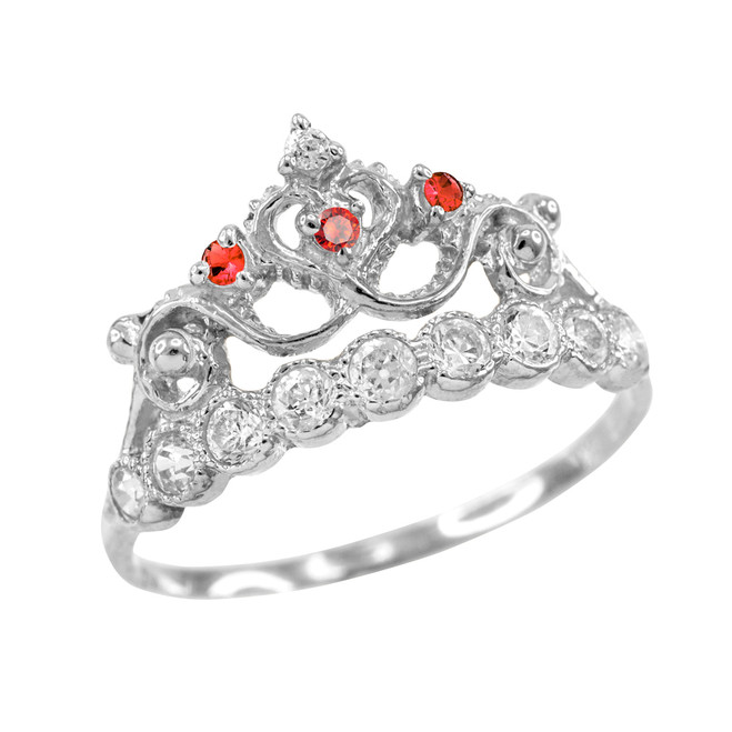 Red CZ White Gold Crown Ring
