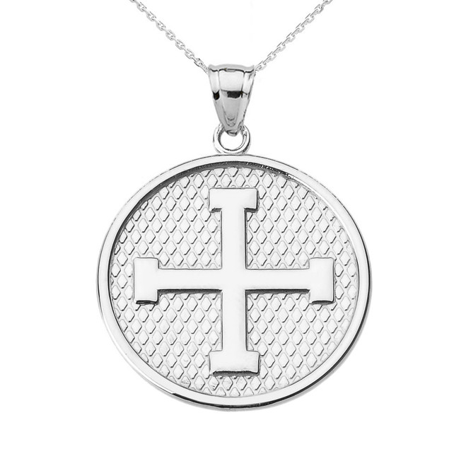 White Gold Greek Cross Round Pendant Necklace