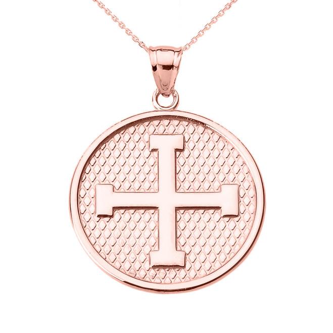 Rose Gold Greek Cross Round Pendant Necklace