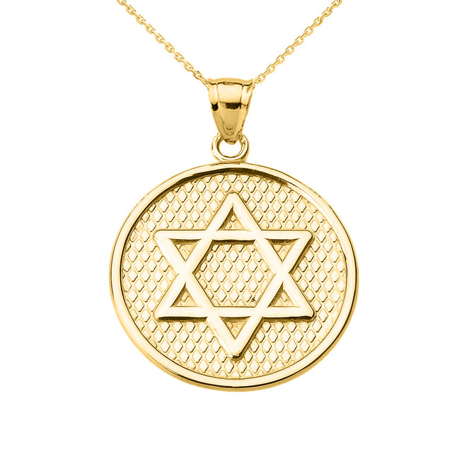 Yellow Gold Star of David Round Pendant Necklace