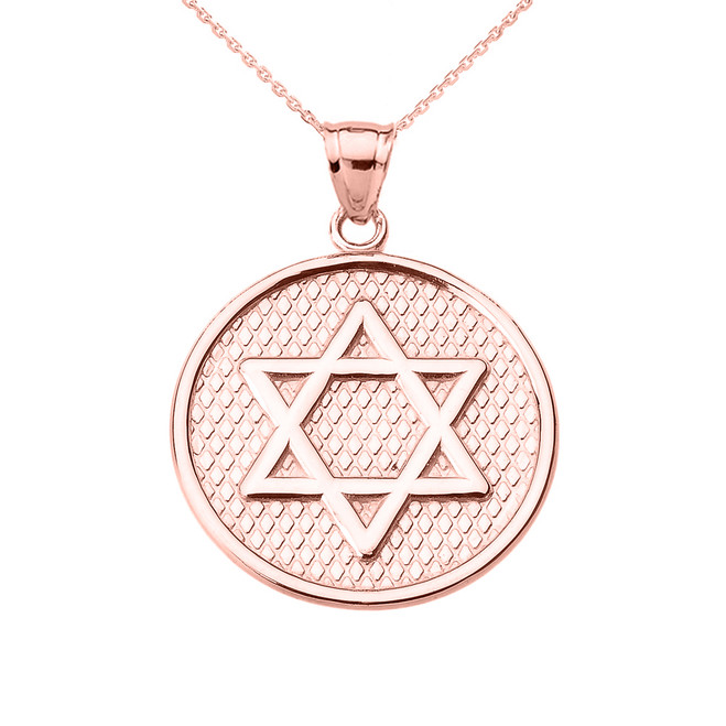 Rose Gold Star of David Round Pendant Necklace