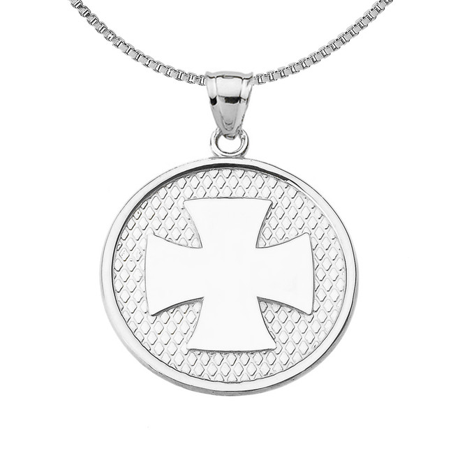 Sterling Silver Iron Cross Round Pendant Necklace