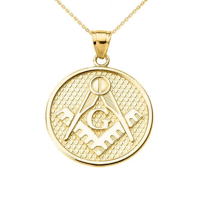Yellow Gold Freemason Masonic Round Pendant Necklace