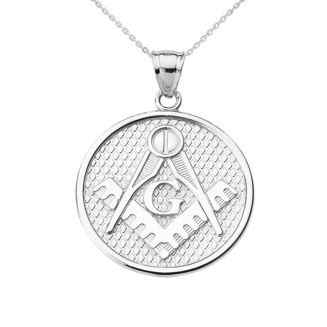 White Gold Freemason Masonic Round Pendant Necklace