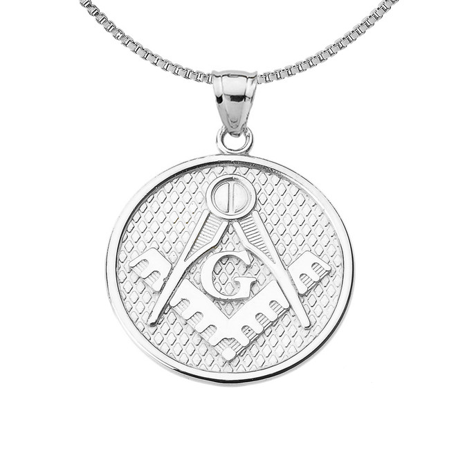 Sterling Silver Freemason Masonic Round Pendant Necklace