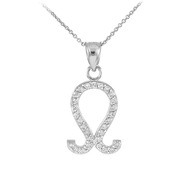 14K White Gold Leo Zodiac Sign Diamond Pendant Necklace