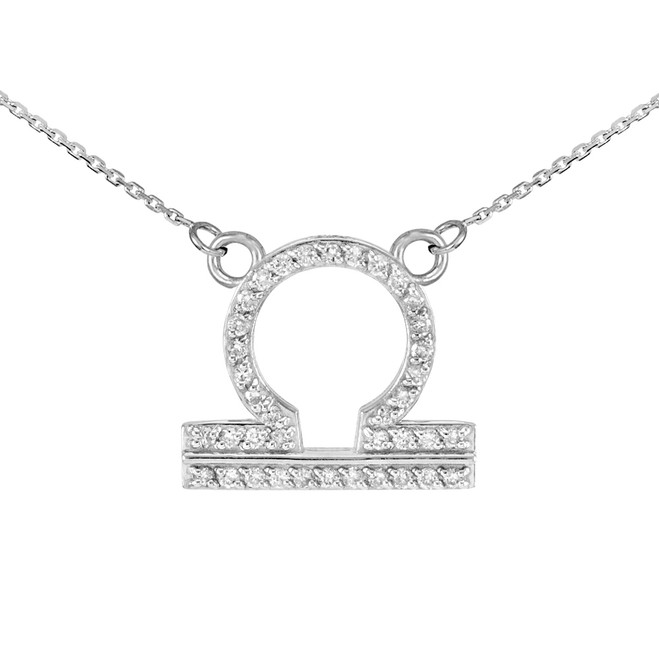 14K White Gold Libra Zodiac Sign Diamond Necklace