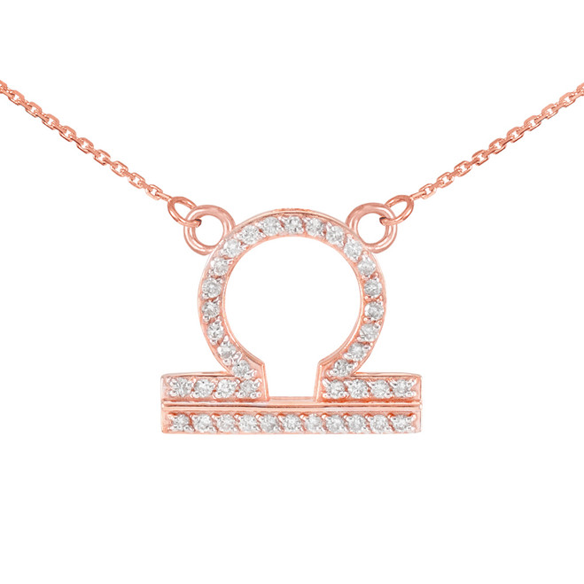 14K Rose Gold Libra Zodiac Sign Diamond Necklace