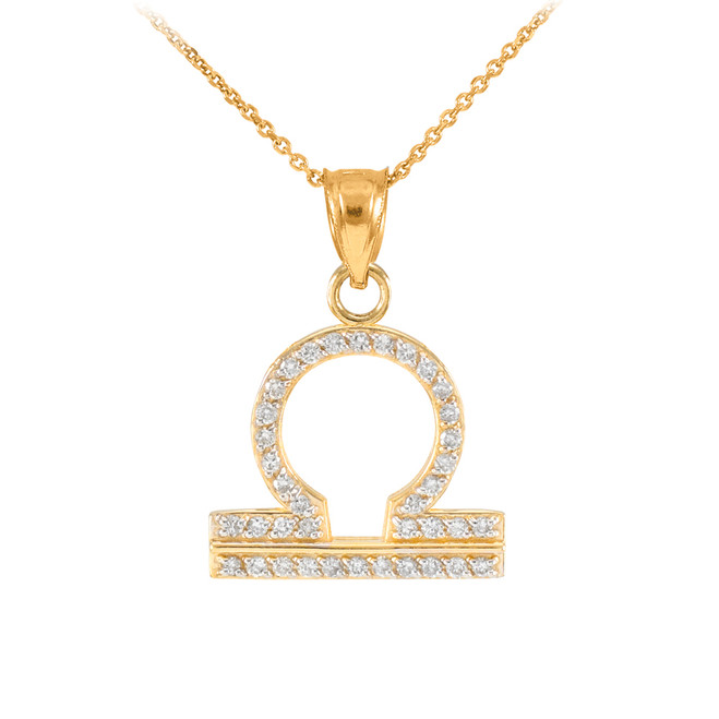 14K Gold Libra Zodiac Sign Diamond Pendant Necklace
