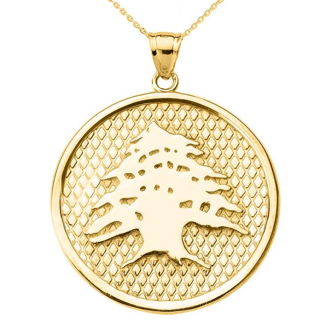Yellow Gold Lebanese Cedar Tree Round Pendant Necklace